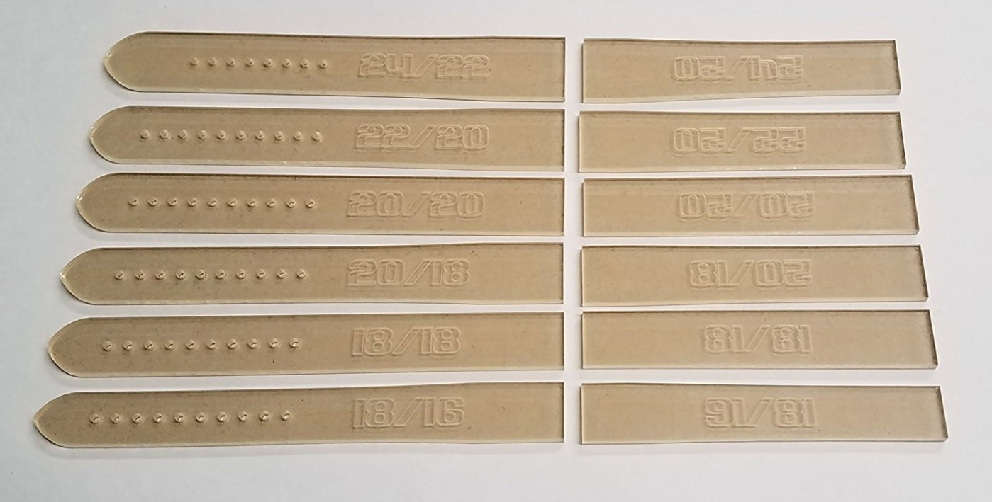acrylic watch strap sewing template set 12 pieces superb quality