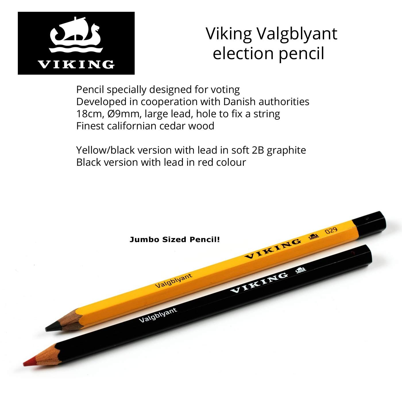 2 pack viking valgblyant election pencil jumbo writing pencils 1 red 1 graphite made in
