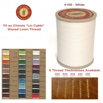 "Fil Au Chinois 50g ""Lin Cable"" WAXED LINEN  - #105 WHITE - for solid stitching, 5 thicknesses available - Made in France"