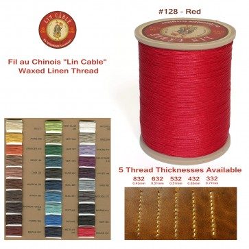 """Fil Au Chinois 50g """"Lin Cable"""" WAXED LINEN  - #128 RED - for solid stitching, 5 thicknesses available - Made in France"""