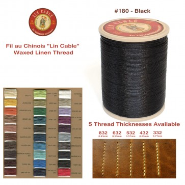 """Fil Au Chinois 50g """"Lin Cable"""" WAXED LINEN  - #180 BLACK - for solid stitching, 5 thicknesses available - Made in France"""