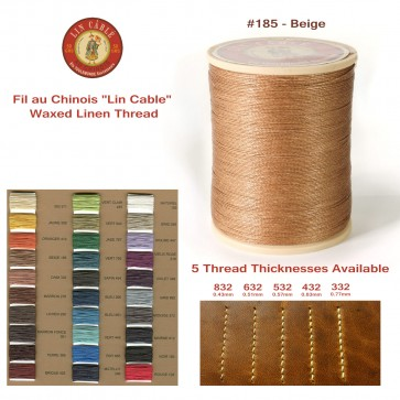 """Fil Au Chinois 50g """"Lin Cable"""" WAXED LINEN  - #185 BEIGE - for solid stitching, 5 thicknesses available - Made in France"""