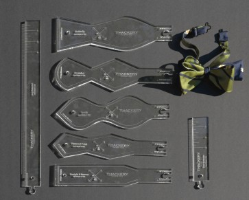 """Set of 5 Acrylic BOW TIE PATTERNS, 1/4"""" Thick + add 2 Extensions Superb Quality, no finer set available in the world"""