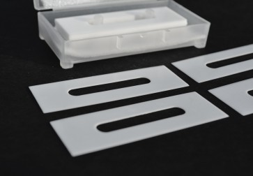 "57mm x 19mm CERAMIC Slotted Slitter Blades (.4mm thick) ""slotted slitters"" - double edged"