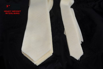 """PRE-CUT 3"""" wide HEAVY weight necktie interfacing / interlining - AC Ter Kuile, finest available, Made Netherlands"""