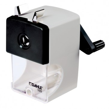 DAHLE 155 manual pencil sharpener with high-quality steel cutters and adjustable tip shape, in grey