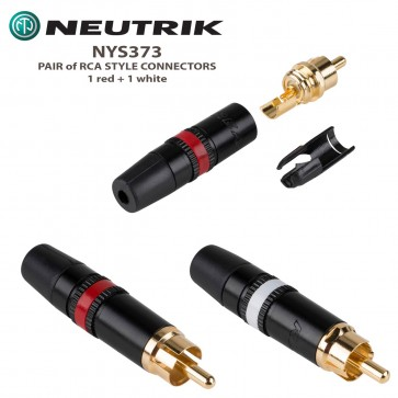 NEUTRIK NYS373 RCA Style Connector (2 pack - RED and WHITE) - Gold Plated