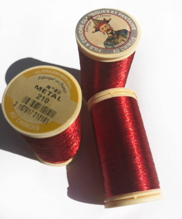 Fil Au Chinois Metallic Thread - STUNNING RED in 100m Bobbin - MADE IN FRANCE