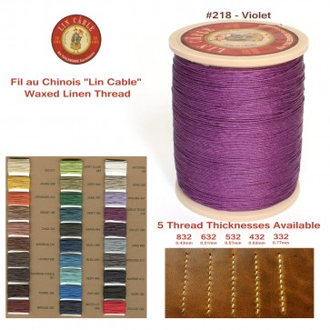 """Fil Au Chinois 50g """"Lin Cable"""" WAXED LINEN  - #218 VIOLET - for solid stitching, 5 thicknesses available - Made in France"""