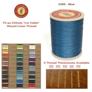 "Fil Au Chinois 50g ""Lin Cable"" WAXED LINEN  - #266 BLUE - for solid stitching, 5 thicknesses available - Made in France"