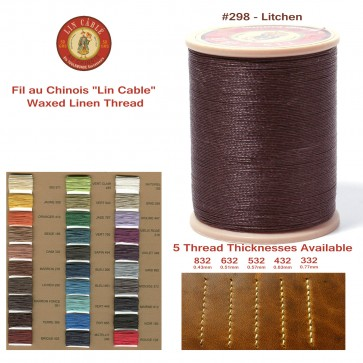"""Fil Au Chinois 50g """"Lin Cable"""" WAXED LINEN  - #298 LICHEN - for solid stitching, 5 thicknesses available - Made in France"""