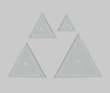 "Triangle Quilting Template Set, 4"", 3"", 2"", 1"" with 1/4"" Seam Allowance - 4 piece set - Made in USA"