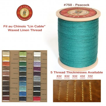 """Fil Au Chinois 50g """"Lin Cable"""" WAXED LINEN  - #750 PEACKOCK - for solid stitching, 5 thicknesses available - Made in France"""