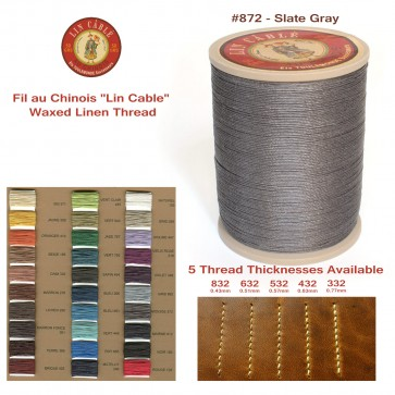 "Fil Au Chinois 50g ""Lin Cable"" WAXED LINEN  - #872 SLATE GRAY - for solid stitching, 5 thicknesses available - Made in France"