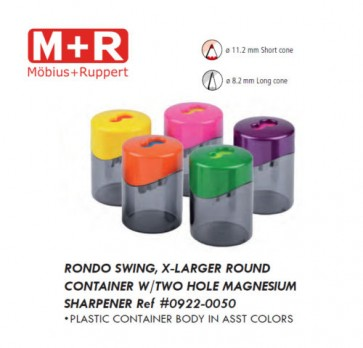 Mobius & Ruppert (M+R) 0922 Top Duo 2 hole round container sharpener, lead color