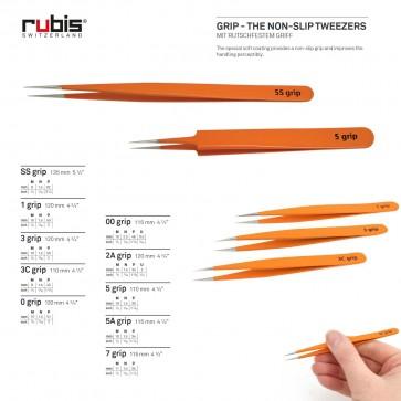 "RUBIS ""GRIP"" - the Non-Slip Tweezers - choose from 10 sizes - Made in Switzerland"