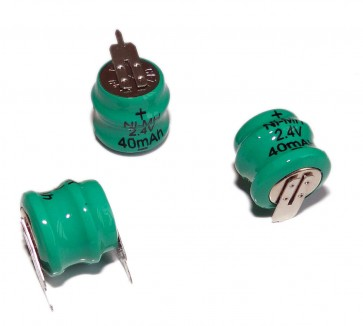 REPLACEMENT BATTERY - Ni-MH 80mAh 2.4V 14h 8mA Rechargable - 2 pin