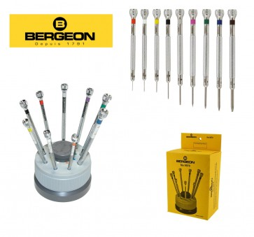 Bergeon Professional Quality Set of Nine Screwdrivers with Stand - Made in Switzerland