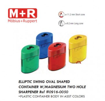 Mobius & Ruppert (M+R) 0916 Top Duo 2 hole round container sharpener, lead color