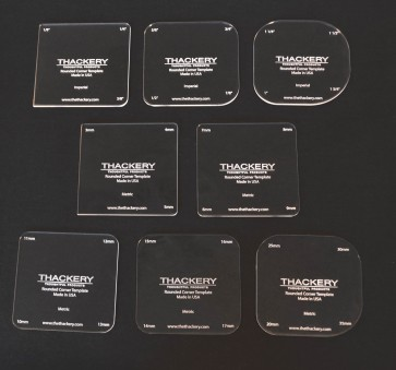 Thackery Rounded Corner Template - INCHES + METRIC- complete set of 8 templates - 32 sizes