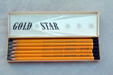 VINTAGE BOHEMIA WORKS GOLD STAR 1860 Pencil - 6B - Made in Czechoslovakia