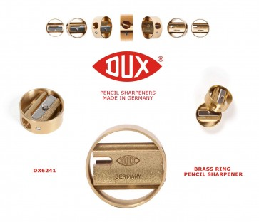 Legendary DUX DX6241 Pencil Sharpener - brass sharpener in a brass ring - Made in Germany