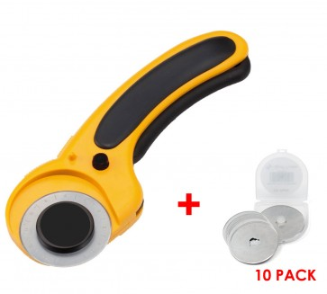 Yellow ROTARY CUTTER + 11 blades - for use with 45mm Cutting Blades
