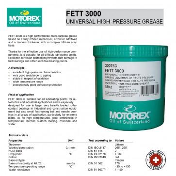 Motorex Grease 3000 - 850g tub - Made in Switzerland