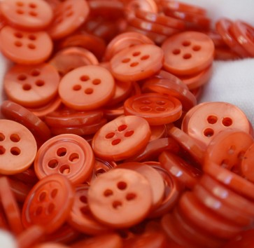 Beautiful ORANGE Colored Mother of Pearl MOP BUTTONS - 18L MADE IN ITALY