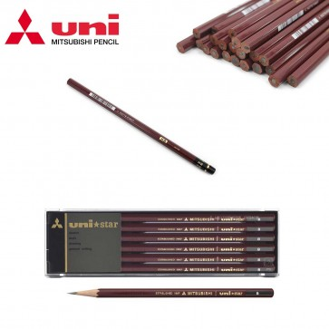 Mitsubishi Unistar Pencil - available in 2B, B and HB hardnesses - Choose lot of 3, 6 or 12 pieces - Made in Japan