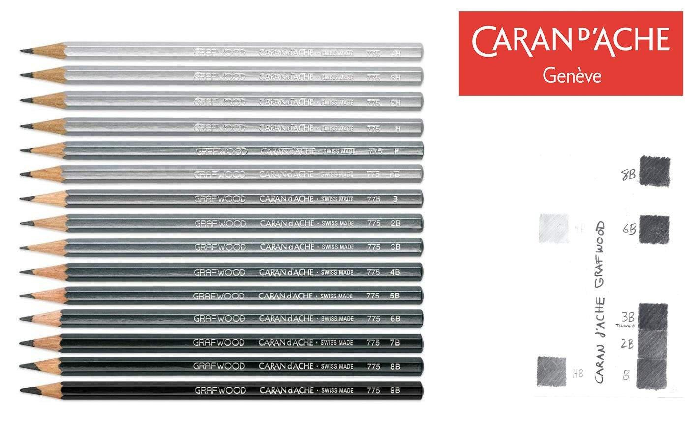 Caran d'Ache - GRAFWOOD graphite sketch pencils - lot of 3 or 6 - choose 4H - 9B - Made in Switzerland - finest graphite pencils in the world!-Lot of 3-4H