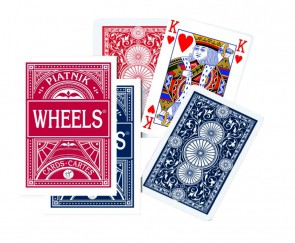 "PIATNIK ""WHEELS"" Playing Cards - red / blue, high quality linen finish - made in AUSTRIA - sealed & complete"