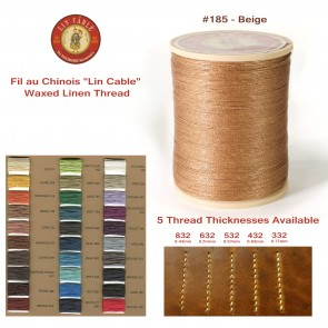 "Fil Au Chinois 50g ""Lin Cable"" WAXED LINEN  - #185 BEIGE - for solid stitching, 5 thicknesses available - Made in France"