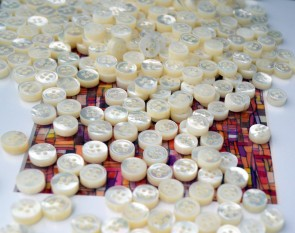 16 white MOP mother of pearl SHIRT BUTTONS for 1 button down collar shirt, 10 front - 4 cuff - 2 collar - 18 L 16 L 14 L