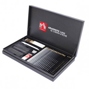 Caran d'Ache - GRAPHITE LINE 28 pc assortment gift box set - Made in Switzerland - finest graphite pencils in the world!