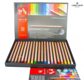 Caran d'Ache - Luminance 6901 professional SET of 20 PASTEL PENCILS - Made in Switzerland - finest colored pencils in the world!