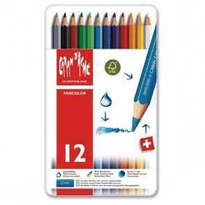 Caran d'Ache - FANCOLOR 12 / 18 color assortment metal box set - Made in Switzerland - finest in the world!