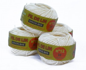 "5 pack Fil Au Chinois General Use Linen Thread rolls (crafts, cooking, gardening) ""Gros Bis - Fil de Lin"" no 12 & 16 avail - Made in France"