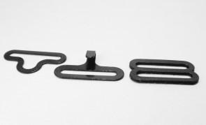 Lot of 500 metal BOW TIE HARDWARE sets (3 pcs per set = 1500 pieces total) eye + hook + slide - black