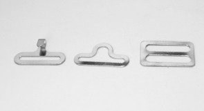 Lot of 100 SILVER metal BOW TIE hardware sets (3 pcs per set = 300 pieces total) eye + hook + slide - 3/4""