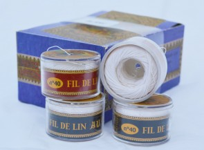 No. 100 WHITE Fil Au Chinois WAXED LINEN Single Ply Sewing Thread in 50m Capsule - Made in France