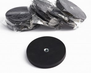 "2 pcs POT MAGNET RUBBER BASE 43lb/20lb PF 2 1/2"" x 5/16 66x8mm N35 NICKEL COATED"