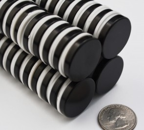 2 pcs EPOXY COATED DISK SHAPED MAGNETS 28mm x 5mm - N42 Neodymium