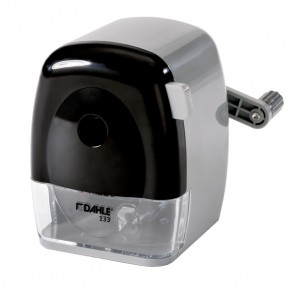 DAHLE 133 grey/black-grey/black manual pencil sharpener with high-quality steel cutters and adjustable tip shape