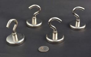 "SUPER STRONG POT MAGNETS w/ HOOK - 2"" x 3/8"" - with metal cap - 160lb PULL FORCE - choose quantity 1 / 2 / 5 / 10 / 20 / 50  / 100"