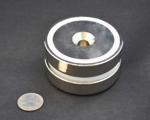 "GIANT POT MAGNET 3"" x 3/4"" (75x18mm) N40 - 357lb/162kg PULL FORCE - NICKEL COATED 1 / 2 / 5 / 10"
