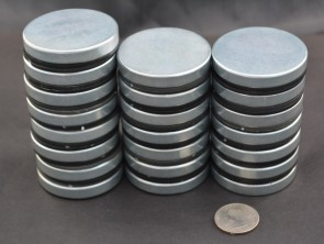"GIANT DISK MAGNET 50x8mm (2"" x 3/8"") 27lb PULL FORCE, ZINC COATED"