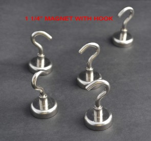 "POT MAGNETS w HOOK 1 1/4"" x 5/16 (32 x 8mm) 65lb PULL FORCE N35 NICKEL COATED - choose quantity 2 / 5 / 10 / 20 / 50  / 100"
