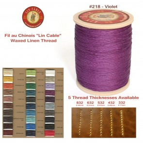 "Fil Au Chinois 50g ""Lin Cable"" WAXED LINEN  - #218 VIOLET - for solid stitching, 5 thicknesses available - Made in France"
