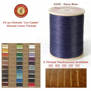 "Fil Au Chinois 50g ""Lin Cable"" WAXED LINEN  - #246 NAVY BLUE - for solid stitching, 5 thicknesses available - Made in France"